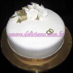 Bolo bodas de ouro com buquet