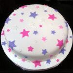 Bolo com estrelas pink e lilas
