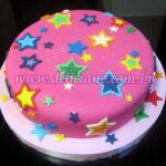 Bolo pink com estrelas neon