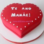 Bolo coração Te amo mamãe!